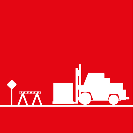Loader in the workplace. Vector illustration. Red and white view Illustration