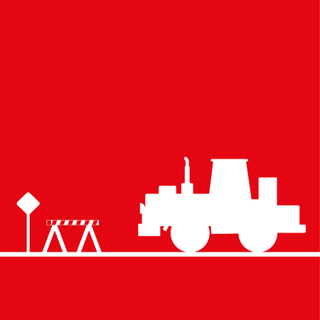 Tractor in the workplace. Vector illustration. Red and white view Illustration