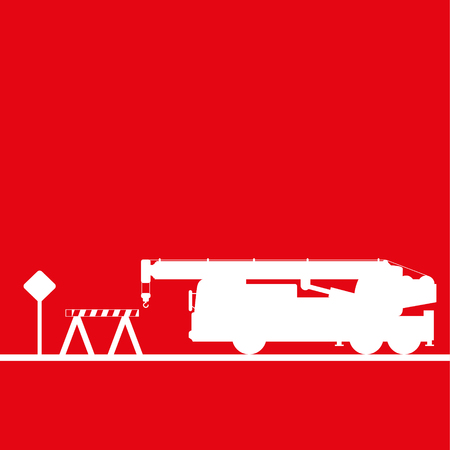 Truck crane in the workplace. Vector illustration. Red and white view Illustration