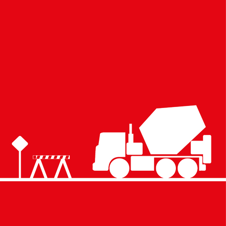 hauling: Car mixer in the workplace. Vector illustration. Red and white view