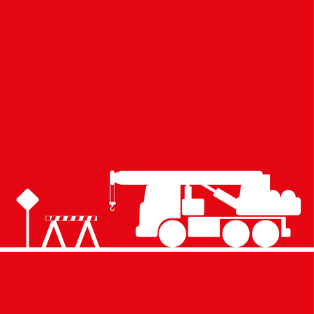 Truck crane in the workplace. Vector illustration. Red and white view Иллюстрация