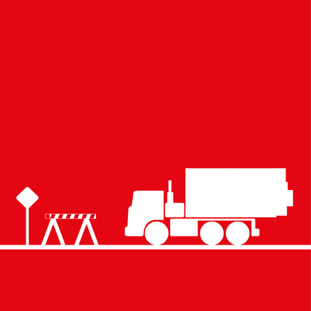 truckload: Truck in the workplace. Vector illustration. Red and white view Illustration