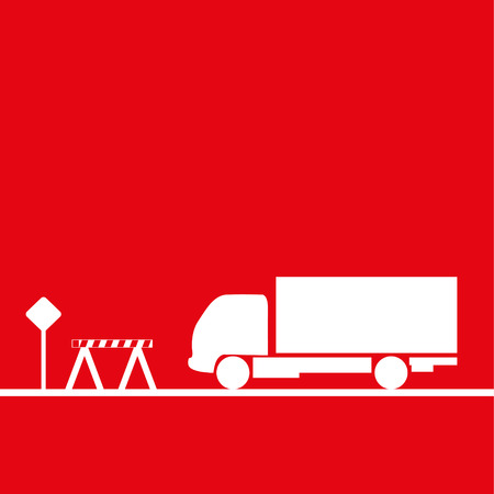 hauling: Truck in the workplace. Vector illustration. Red and white view Illustration