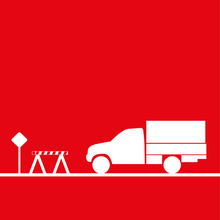 Truck in the workplace. Vector illustration. Red and white view Illustration