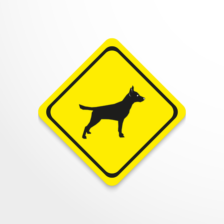 A dog on a yellow background. Vector icon. Illustration
