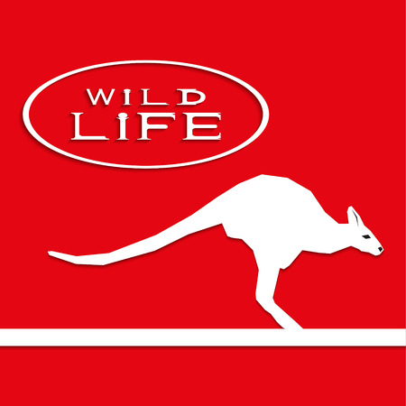 Kangaroo on a red background with the inscription wild life. Vector illustration. Illustration
