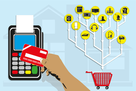 Purchase of household appliances using a plastic card. Vector illustration.
