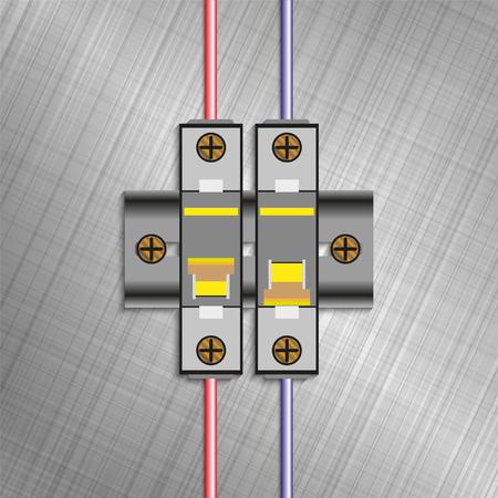 Molded case circuit breaker. Electric fuse blocks. Vector illustration. Vetores