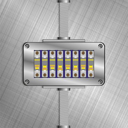 Molded case circuit breaker. Electric fuse blocks. Vector illustration. Stok Fotoğraf - 78810485