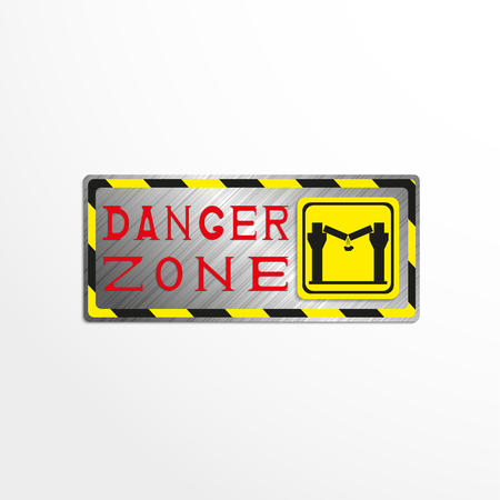 dangerous construction: Warning sign with the inscription danger zone. Vector illustration.