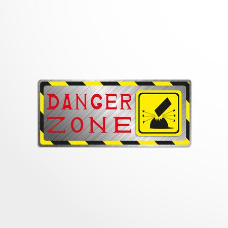 hazard: Warning sign with the inscription danger zone. Vector illustration.