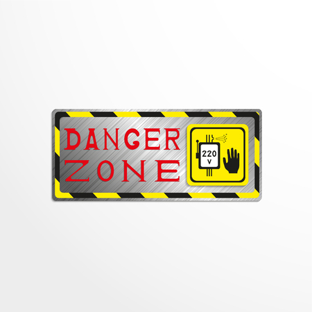 hazard stripes: Warning sign with the inscription danger zone. Vector illustration.