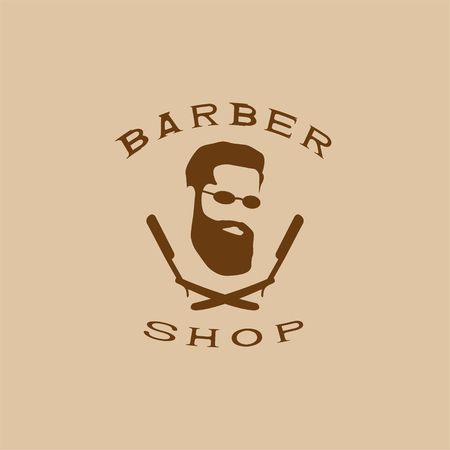 man's: A vector illustration depicting a mans face with a beard and glasses over two crossed razors. Logo of the mens hairdresser.