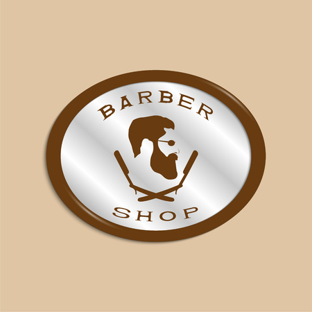 A vector illustration depicting a mans face with a beard and glasses over two crossed razors. Logo of the mens hairdresser.
