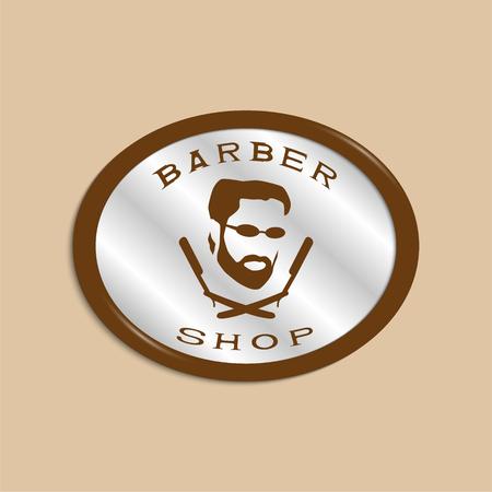 Een vectorillustratie die een man gezicht met een baard en glazen over twee gekruiste scheermessen afschilderen. Logo van de herenkapper.