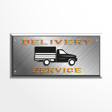 next day: Metal plaque with the inscription delivery service and the car image. Vector illustration. Illustration