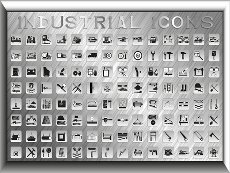Big set of vector icons on an industry theme. Ilustração