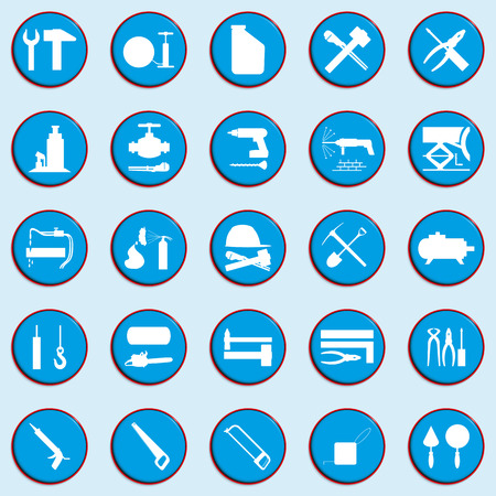 drill: Set of vector icons on a theme of repair work. Illustration