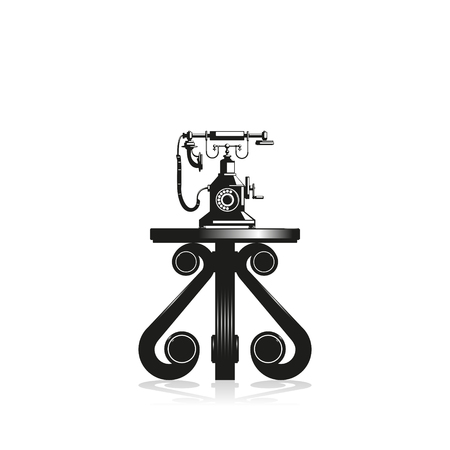 Old phone on a decorative table. Black and white vector illustration. Illustration