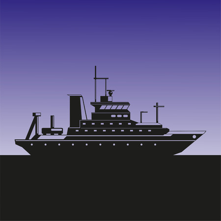 Silhouette of a sea ship against the background of the evening sky. Vector illustration.