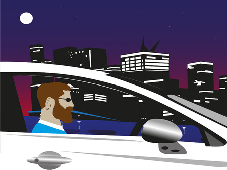 The man at the wheel of the car. Vector illustration.