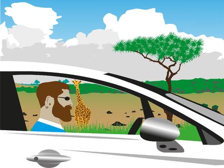 The man at the wheel of the car. Illusztráció
