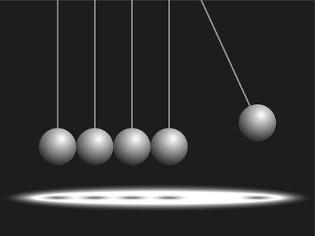 Matt balls on the threads. Pendulum. Abstract composition. Vector illustration. Ilustrace