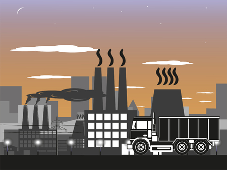 Truck on the background of the industrial district of a large city. Vector illustration.
