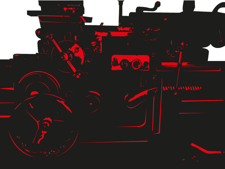 The central fragment of the old lathe in production. Vector illustration.