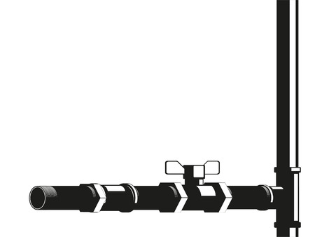 Plumbing pipes and joints on a certain background. Vector illustration.