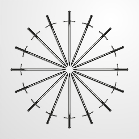 Iron swords piled in a circle. Vector illustration.