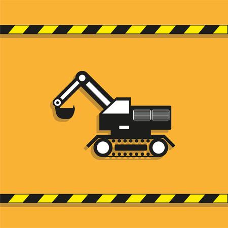 Construction machinery. Excavator. Vector icon.