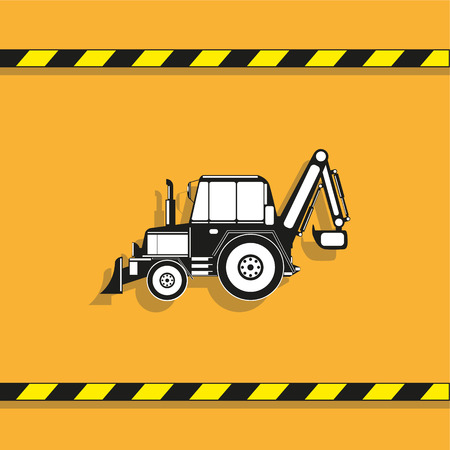 Construction machinery. Tractor. Vector icon.