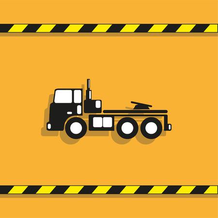 Tow truck icon on light orange background.