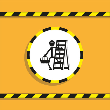 The repairman on the stairs. Vector icon.