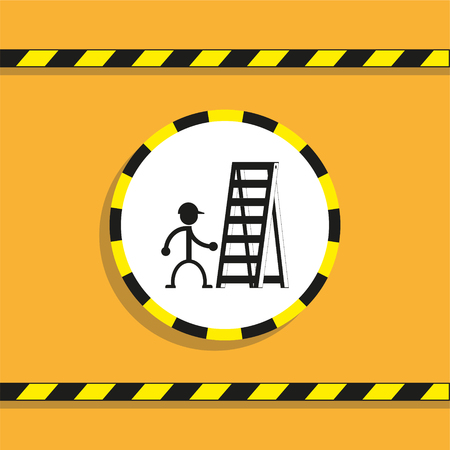 Work on a folding ladder. Vector icon. Illustration