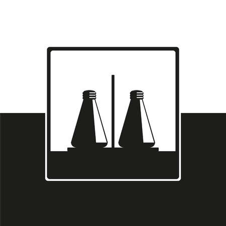 Pepper and salt shaker. Vector icon in black and white form.