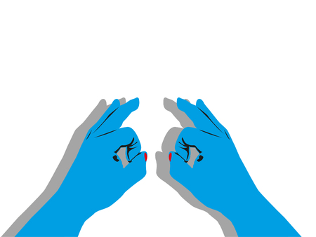 Two blue hands with a shadow on a light background. Vector illustration.
