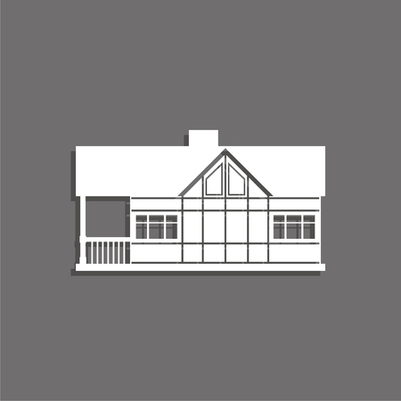 A private house vector icon. White image with a shadow on a gray background.