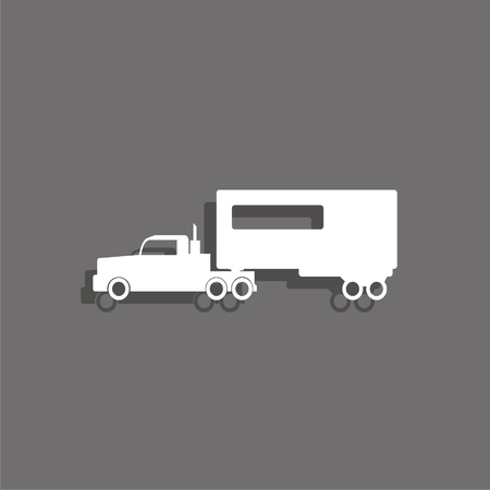 White truck vector icon.