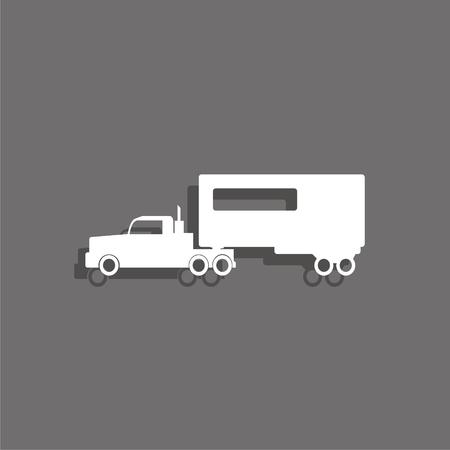 White truck vector icon.