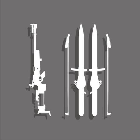 Sports symbol. Biathlon. Vector icon. Ilustrace