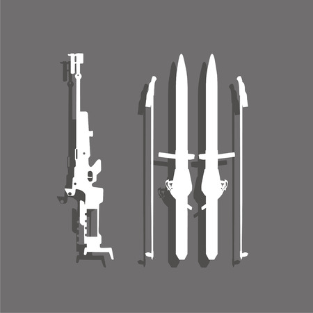 Sports symbol. Biathlon. Vector icon. Illustration