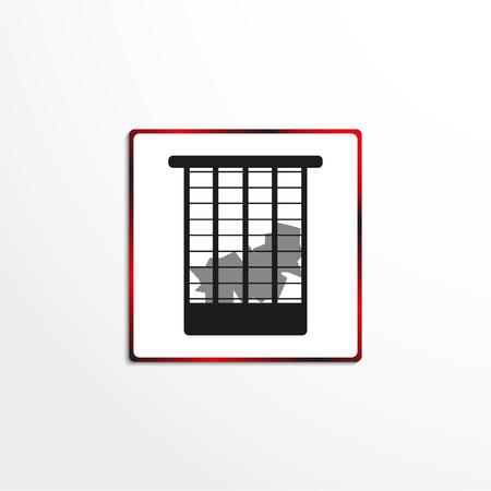 Urna da ufficio con carta stropicciata. Icona di vettore. Archivio Fotografico - 97901715