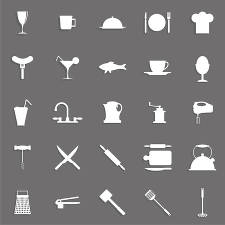 Set of vector icons on the topic of kitchen accessories. Ilustração