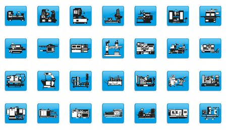 Set of vector icons on the theme of industrial equipment.