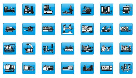 Conjunto de iconos de vector sobre el tema de equipos industriales.