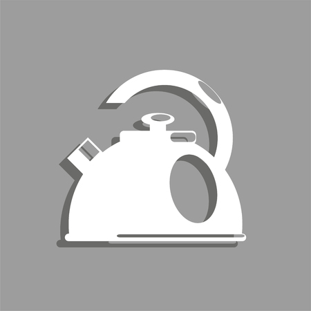 Iron kettle. Vector icon.