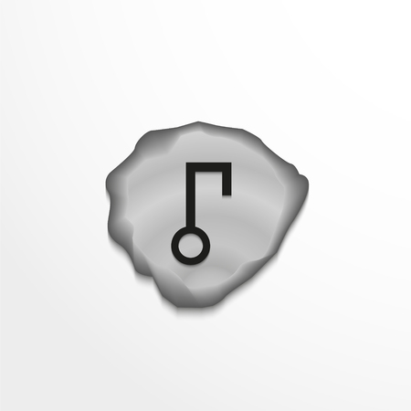 Ancient rune on the stone. Vector illustration. Vectores