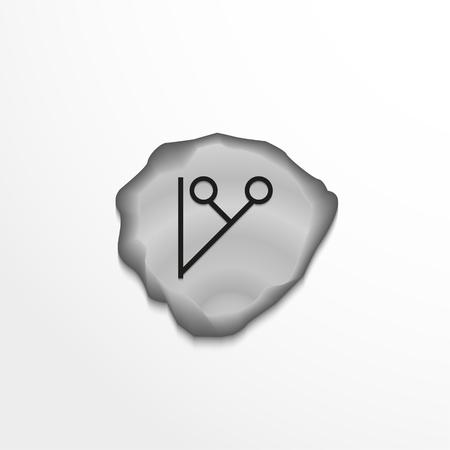 Ancient rune on the stone. Vector illustration. Illustration